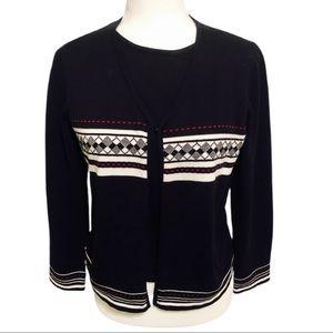 Requirements Petite Sweater Set, Black, Size PM